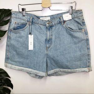 Topshop mom jean light wash high waist shorts NWT